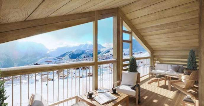 This ski-in ski-out apartment occupies a superb location moments from the main snow front in Les Bergers